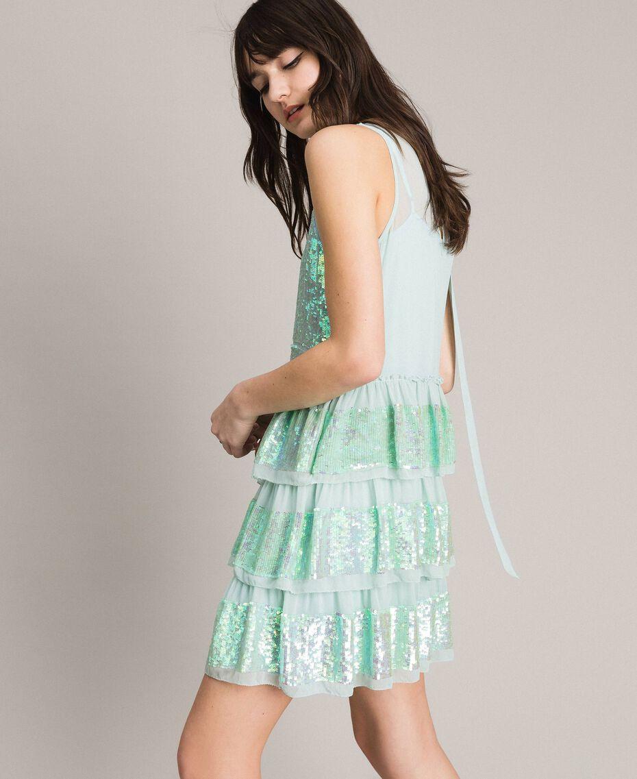 Georgette-Kleid mit Pailletten Aquamarin Frau 191TP2581-02