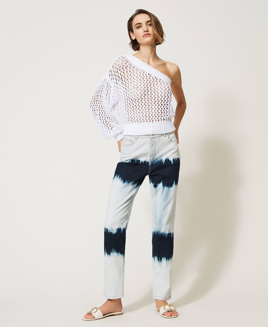 Slouchy-Jeans mit Tie-Dye Tie-Dye-Denim Frau 211MT211D-02