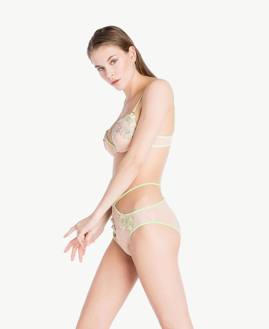 "High waisted embroidered briefs Two-tone ""Soft Lime"" Yellow / ""Peach Powder"" Pink Woman LS8F99-03"