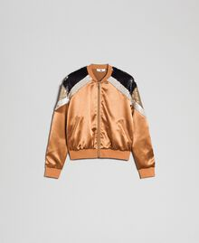 "Satin bomber jacket with sequins ""Camel Skin"" Beige Woman 192LI2RAA-0S"