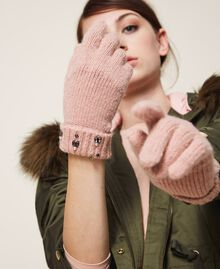 """Knit gloves with pearls and bezels """"Intense Nude"""" Pink Woman 202TO5112-0S"""