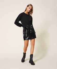 Plush fabric dress with sequins Black Woman 202MT2121-01