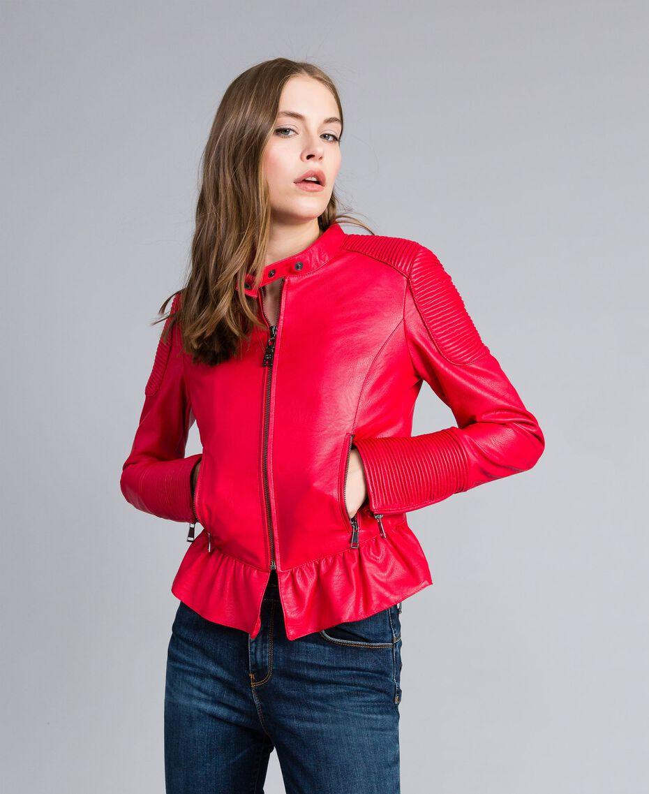 Байкерская куртка из искусственной кожи Красный Мак женщина JA82DG-01