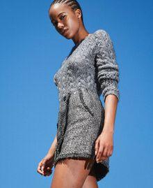 Mini-jupe en tissu bouclé avec sequins Noir Femme 202MT218B-04