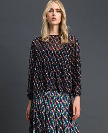 Printed georgette blouse with top Fox Geometric Print Woman 192ST2151-03