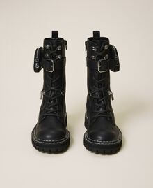 Combat boots with zip and side pocket Black Woman 202MCT122-05