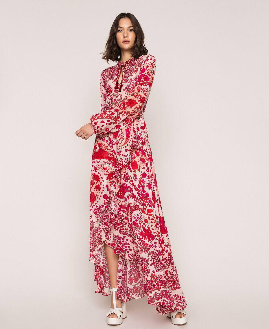 Jupe en crêpe georgette imprimé paisley Imprimé Paisley Rouge «Lave» / Rose«Boutons de Fleurs» Femme 201TP2535-02