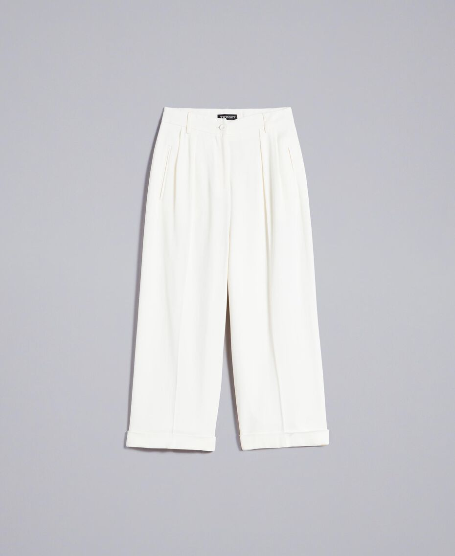 Pantaloni cropped in envers satin Bianco Neve Donna TA824K-0S