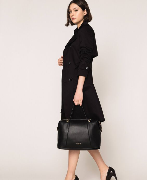 Faux leather bowler bag