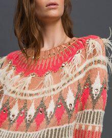 Maxi pull jacquard avec broderies et plumes Jacquard Fair Isle Noir Rose «Rose Nude» Femme 192TT3310-04