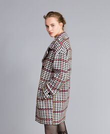 Oversized houndstooth coat Large Multicolour Check Jacquard Woman PA826H-03