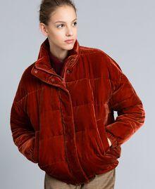 Short velvet padded jacket Reddish Brown Woman TA82BA-02