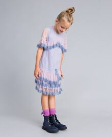 "Chantilly lace dress Bicolour ""Polynesian"" Light Blue / ""Bougainvillea"" Pink Child GA82YA-02"