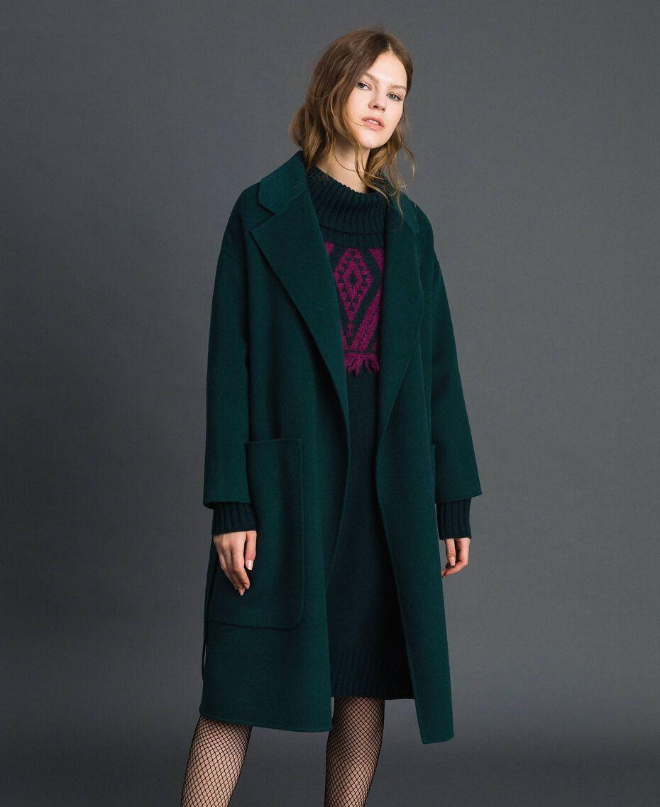 Manteau en laine mélangée doublée Rouge Betterave Femme 192TP2312-01