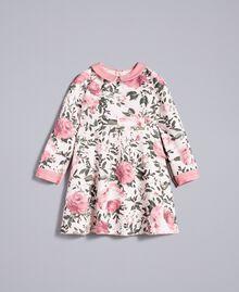 "Printed crêpe dress ""Blush"" Pink with Rose Print Child FA82D1-01"