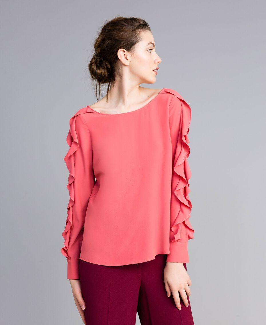 Silk blend blouse with frills Royal Pink Pink Woman PA828B-02
