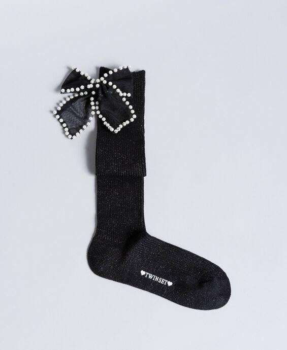 Chaussettes en lurex avec nœud