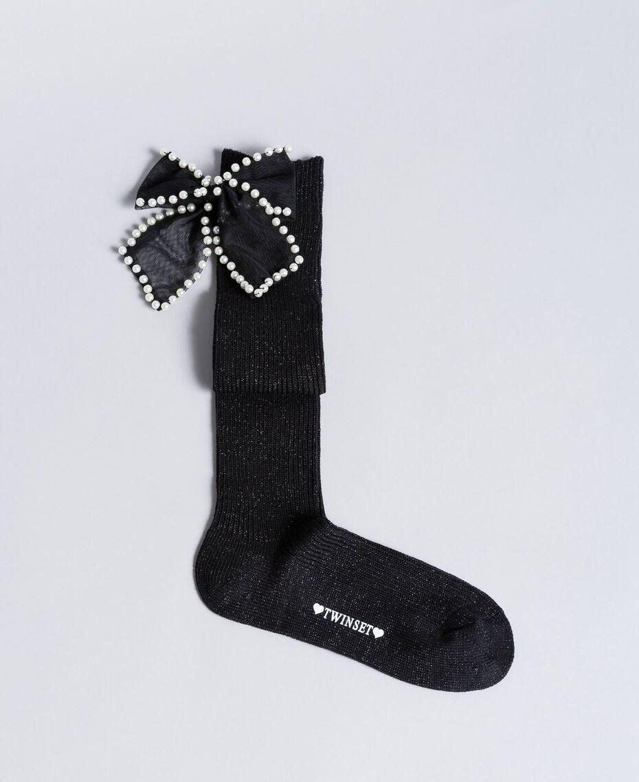 Chaussettes en lurex avec nœud Noir Femme OA8T3M-01