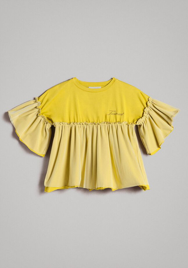 T-shirt en jersey et tulle