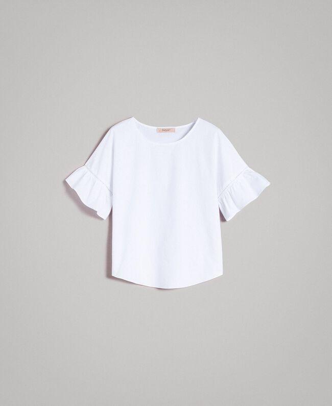 Popeline-Volant-Bluse Weiß Frau 191TT224D-0S