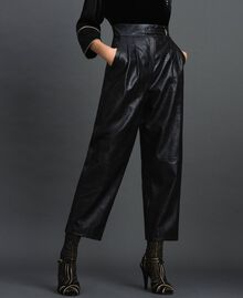 Pantaloni wide fit in similpelle Nero Donna 192TT203C-01