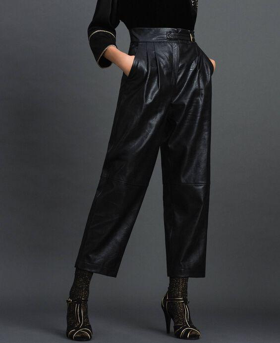 Pantalon ample en similicuir