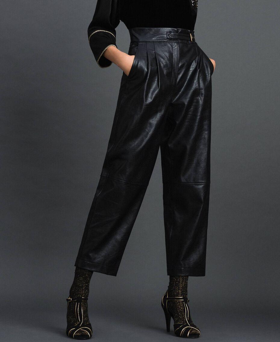 Pantalon ample en similicuir Noir Femme 192TT203C-01