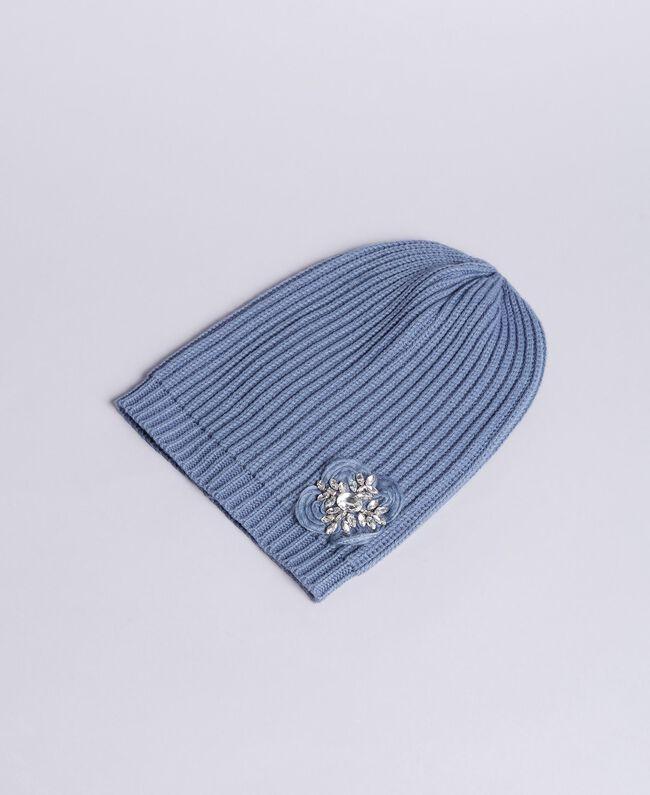 Cuffia in maglia con ricamo e strass Azzurro polvere Donna AA8P5J-01