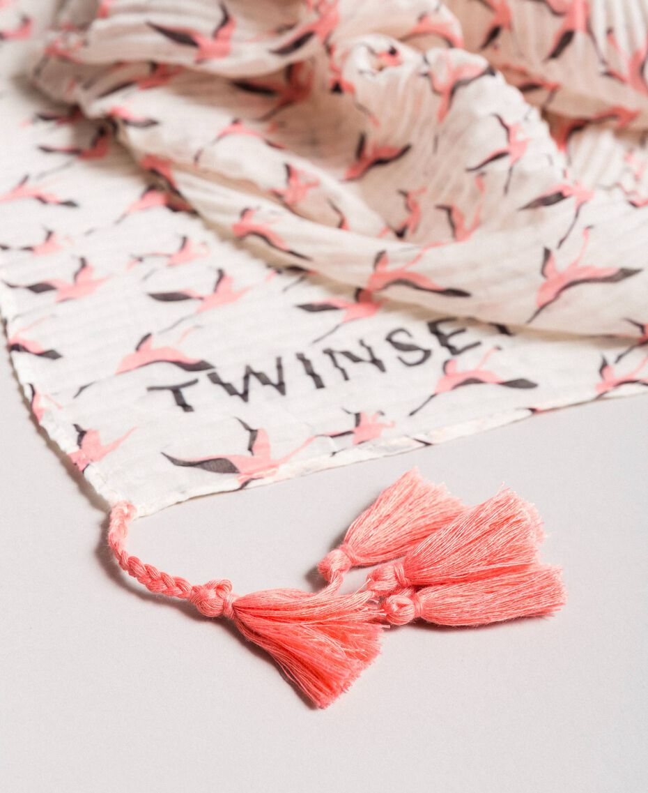 Plissiertes Kufiya mit Flamingo-Aufdruck Motiv Flamingo Frau 191TA4367-02