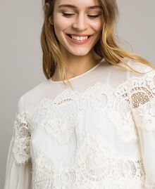 Georgette blouse with lace White Snow Woman 191TT2101-04