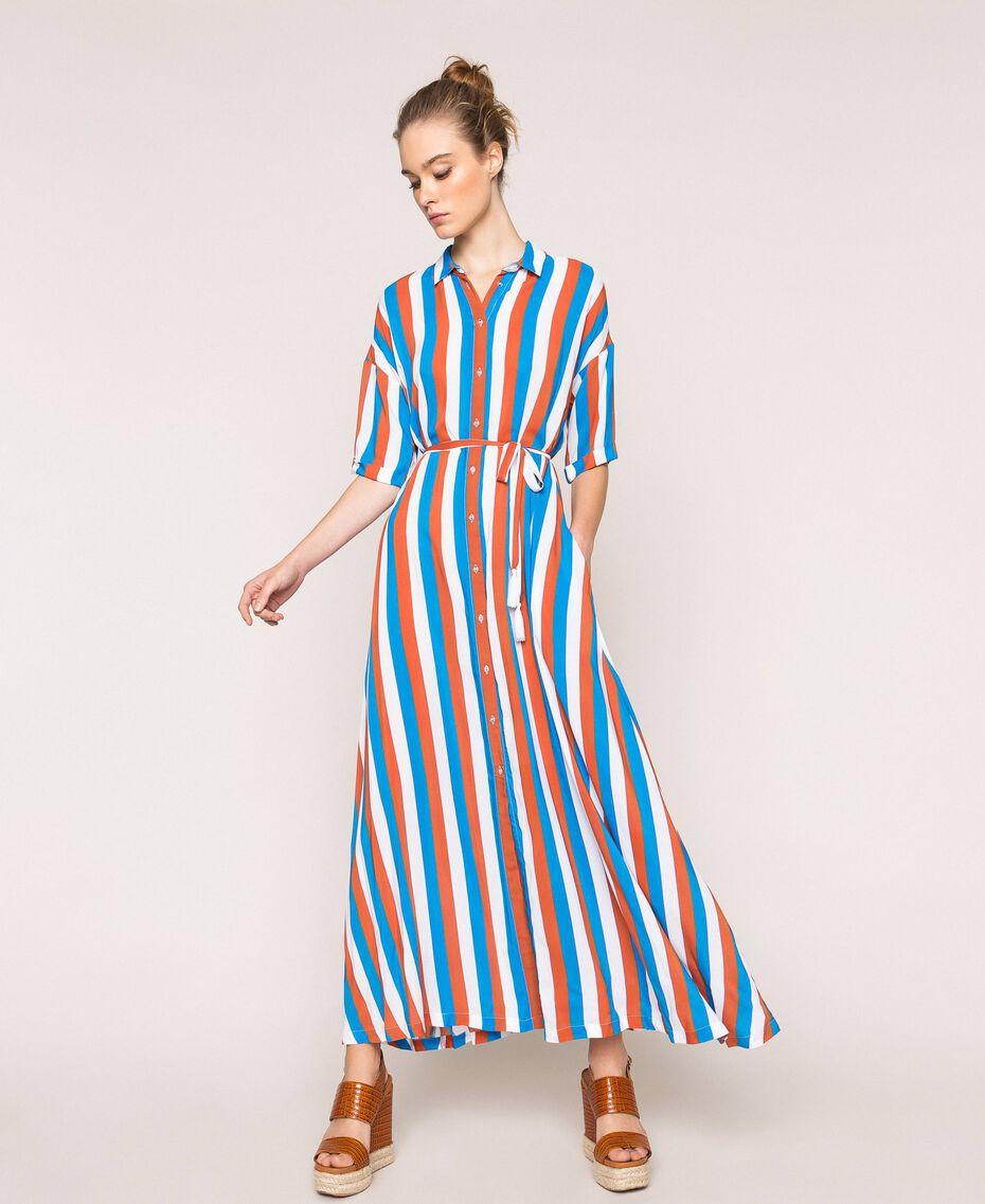 "Long striped shirt dress Multicolour ""Bay"" Blue / ""Choco"" Brown / Optical White Woman 201LM2FBB-01"
