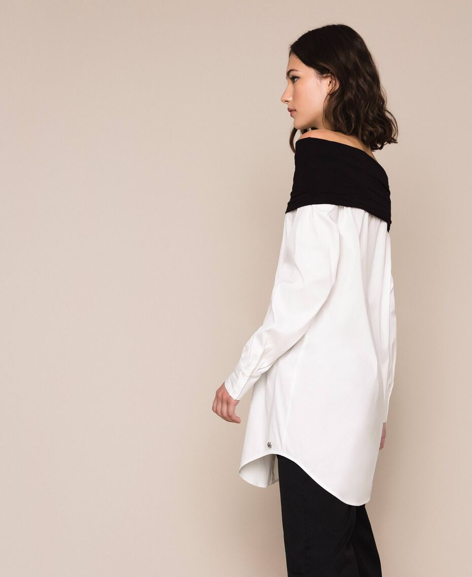 Soft collar poplin shirt Two-tone Lily / Black Woman 201MP218F-02