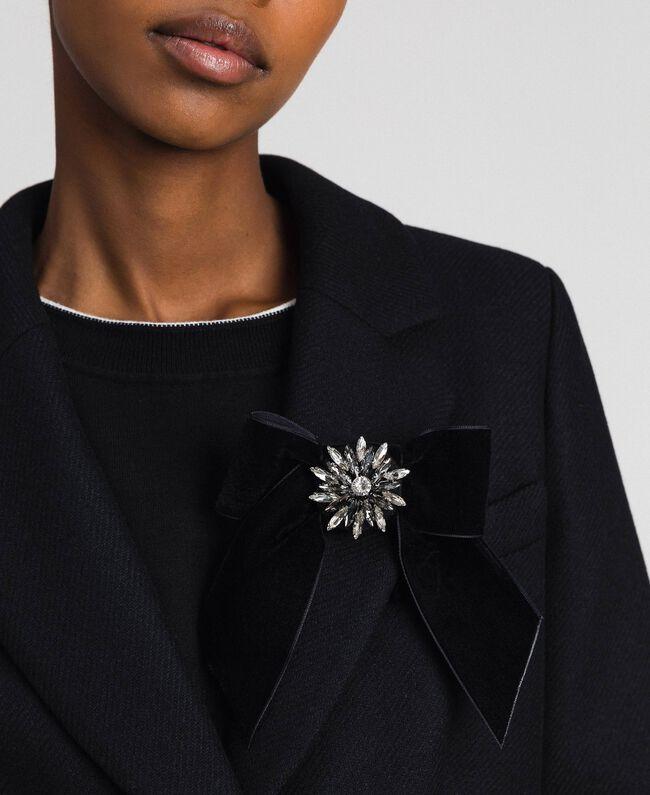 Manteau en drap avec dentelle Noir Femme 192TP2314-04
