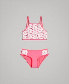 Bikini mit Makramee-Spitzenstickereien Zweifarbig Neonpink / Optisch Weiß Kind 191GJM903-01