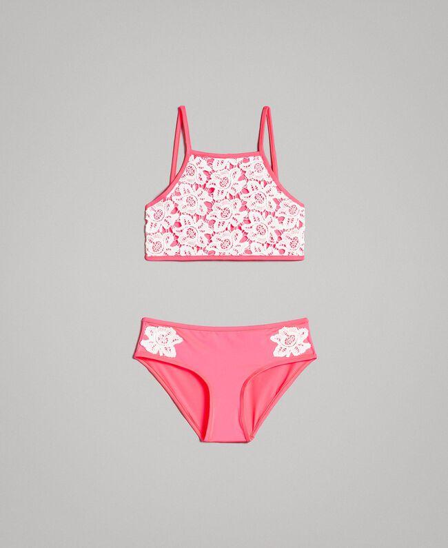 972a833323cf6 Бикини с вышивкой из кружева макраме Двухцветный Неоново-Розовый /  Оптический Белый Pебенок 191GJM903-