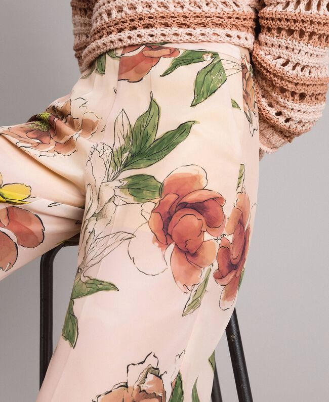 "Floral print crêpe de Chine trousers All Over ""Shell"" Beige Flower Print Woman 191MT2212-04"