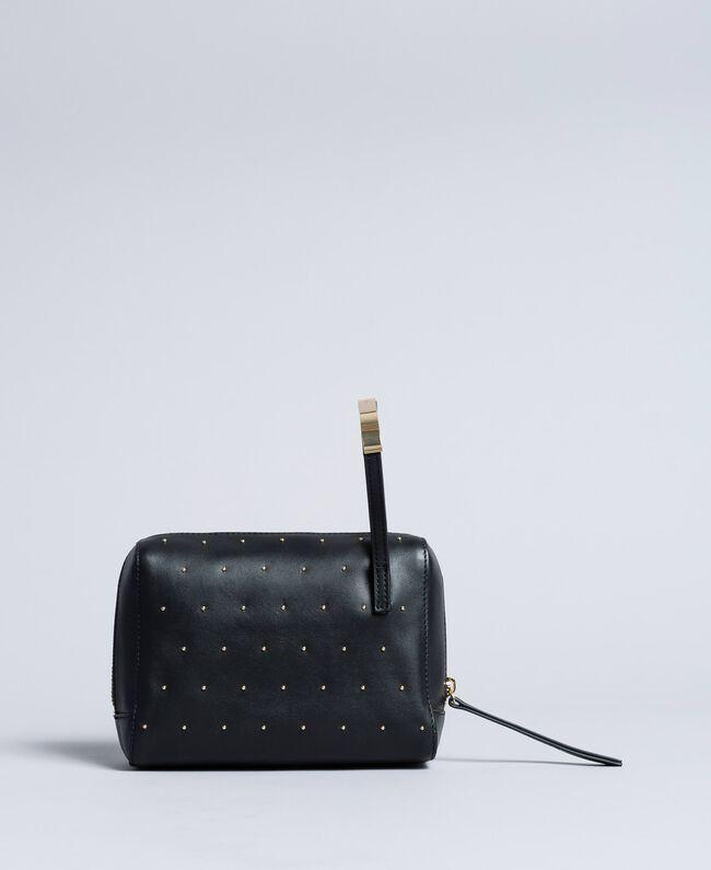 Kosmetiktasche aus Leder mit Nieten Schwarz Frau AA8PA2-03