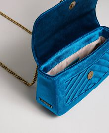 Small velvet shoulder bag Blue Caribbean Blue Woman 192TO8073-05
