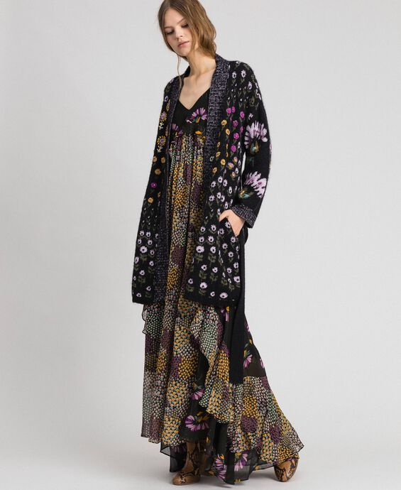 Floral jacquard cardigan with embroidery
