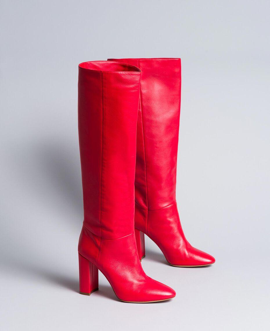 Stivali alti in pelle Rosso Papavero Donna CA8PLA-02