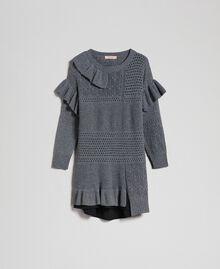 Robe ajourée en laine et cachemire Gris Mélangé Femme 192TP3200-0S