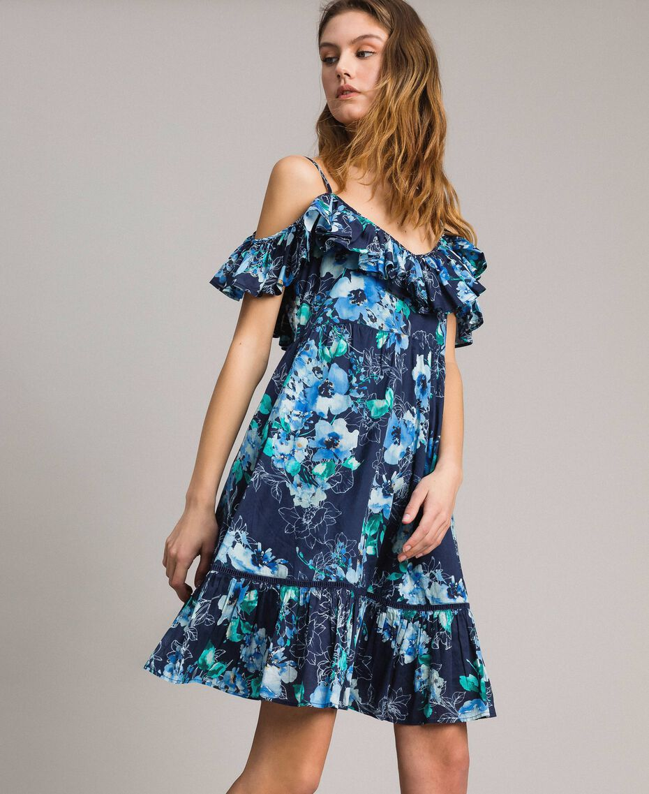 Floral print dress with ruffle and flounce All Over Blunight Multicolour Flowers Print Woman 191MT2290-02