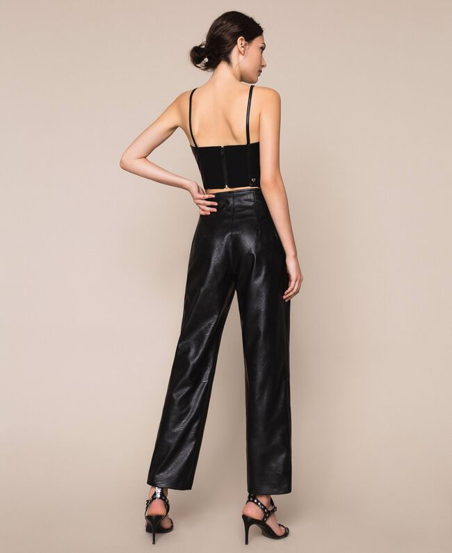 Faux leather trousers Black Woman 201TP241C-03