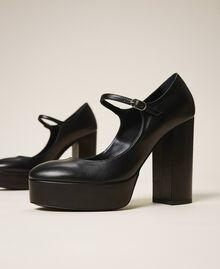 "Platform leather court shoes ""Nude"" Beige Woman 202TCP150-02"
