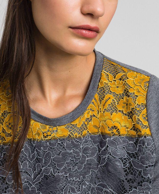T-Shirt mit Color-Block-Spitze Spitze mehrfarbig Frau 192MP2294-04