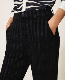 Pinstripe effect regular jeans Black Denim Woman 202MP2231-04
