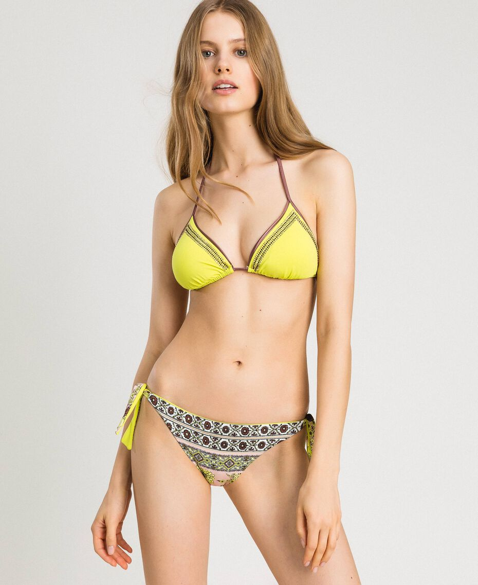 "Bikini mit Strass und Foulard-Print Motiv ""Lemon Juice"" Gelb Schal Frau 191LBMHWW-0S"