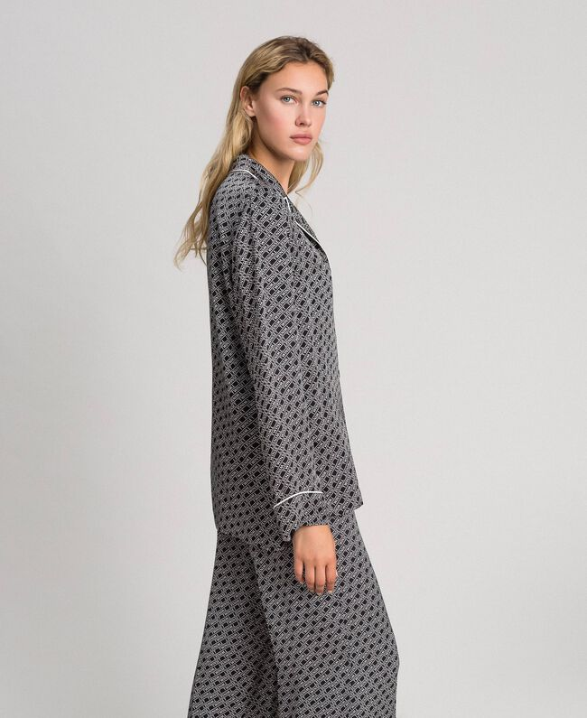 Chemise en twill avec imprimé siglé Imprimé Logo Noir / Blanc Neige Femme 192TP258A-03