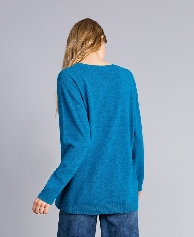 Maxi maglia in misto lana con cuore Ricamo Blu Ottanio Agugliato Donna TA83JF-03