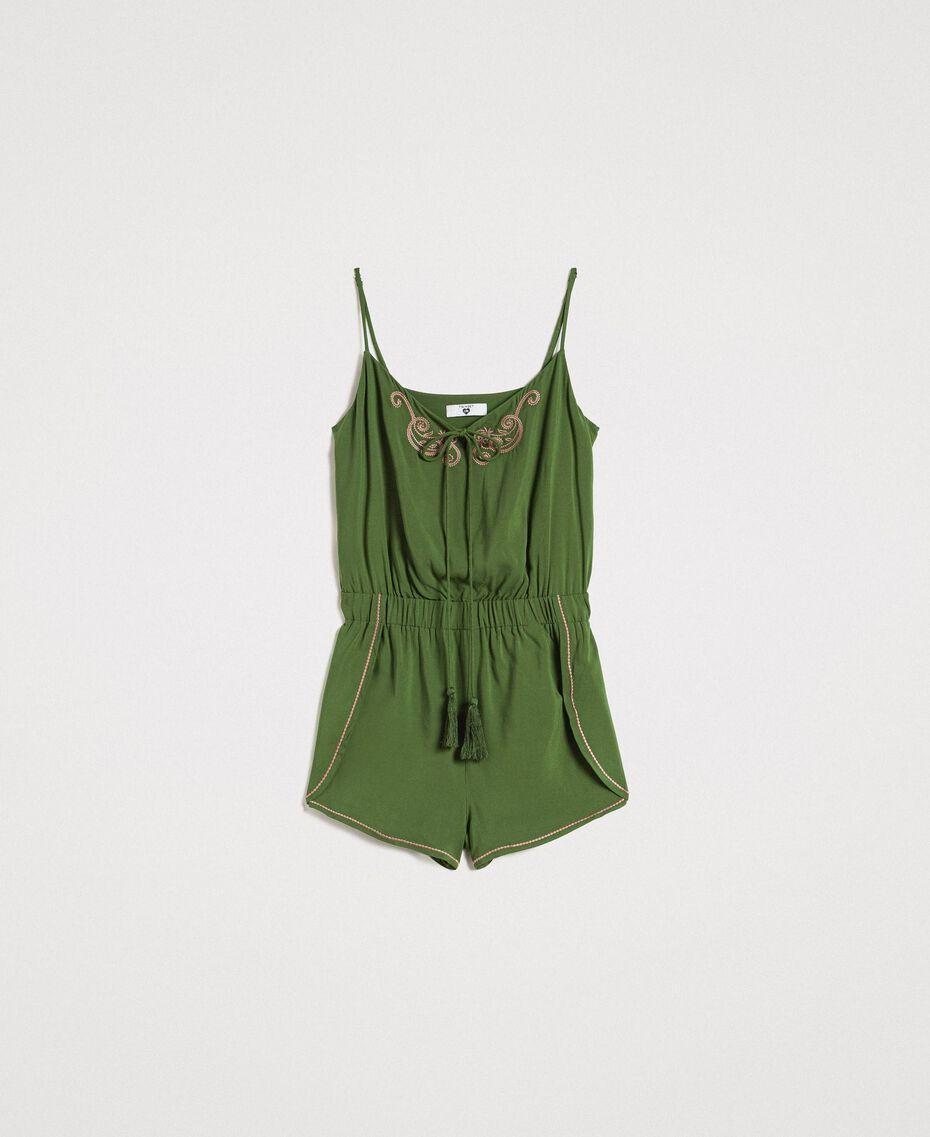 Kurzer Overall mit Schulterträgern und Stickereien Amazonas Grün Frau 191LM2RDD-0S
